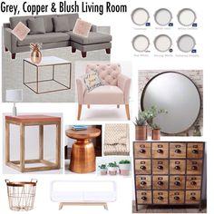 Gray, Copper, Blush Living Room Decor Mood Board