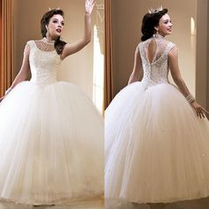 Discount 2015 White Quinceanera Dresses Crystals Beaded Ball Gown Featuring Capped Sleeve Keyhole Back Floor Length Girl Dress Wedding Dress Custom Online with $218.85/Piece | DHgate