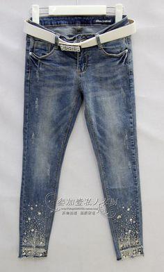 Borderthink2577 women's casual trousers jeans pencil pants bo . denim system