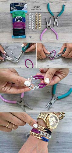 pulseras con gomas de pelo y cadena