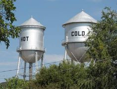 """""""Hot"""" and """"Cold"""" water towers in Pratt, Kansas."""