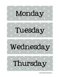 FREE!  Weekday Polka Dot Labels