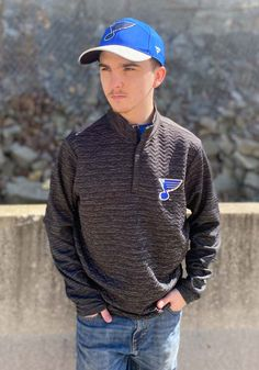 Antigua St Louis Blues Mens Black Analog Long Sleeve 1/4 Zip Pullover - 32304838 St Louis Blues, Great Books, Stay Warm, A Team, Pride, Pullover, Zip, Long Sleeve, How To Wear