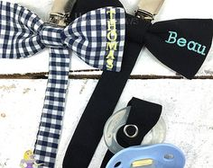 Personalized Baby Gift Bow Tie Pacifier Clip by BellesLikeBigBows