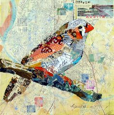 Artists Of Texas Contemporary Paintings and Art - Torn Paper Collage, Roving Happy Bird 13069, Painted Paper Collage Painting SOLD, Day 1, 30 Paintings in 30 Days September 2013 Leslie Saeta Challenge by Texas Collage Artist Nancy Standlee