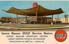 An unmailed post card circa I worked at Lenox Square when I was in school and remember this gas station well. It was on the corner of Lenox Road and East Paces Ferry. Georgia Usa, Atlanta Georgia, Lenox Square, Filling Station, Old Images, Old Signs, Gas Station, Back In The Day, Vintage Travel