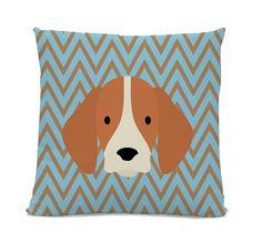Beagle Pillow - Throw Pillow - Teal Brown Chevron Pillow - dog home decor - Dog decorative Pillow - chevron throw pillow - Cute pillow by sophisticatedpup on Etsy