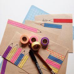 Sobres con lápices de washi tape ✏