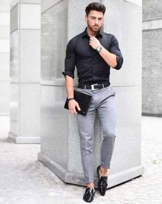 fitted men's black shirt and grey pants Fashion Mode, Fashion Night, Work Fashion, Urban Fashion, Trendy Fashion, Men Fashion, Fashion Outfits, Fashion Black, Fashion Shirts