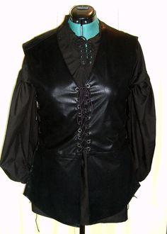 L/XL Black Faux leather Medieval Jerkin by Arandin Costume via Etsy