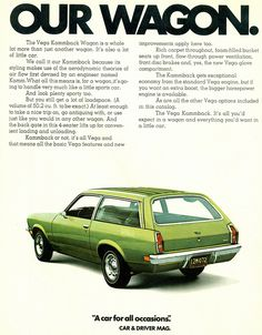 Learn more about Faux Woodie Kammback: 1974 Chevrolet Vega Wagon on Bring a Trailer, the home of the best vintage and classic cars online. Chevrolet Vega, Chevy, Vintage Advertisements, Vintage Ads, Vegas, Car Brochure, Station Wagon, Car Advertising, Us Cars