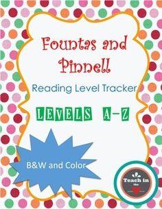 F&P Reading Level Tracker (Levels A-Z) FREEBIE!