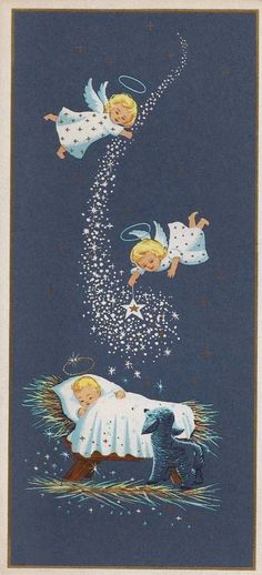 Vintage Christmas Card Greeting-Angels Over Baby Jesus-Stars-Gold Accents Vintage Christmas Images, Old Fashioned Christmas, Christmas Scenes, Christmas Nativity, Christmas Past, Retro Christmas, Vintage Holiday, Christmas Pictures, Christmas Angels