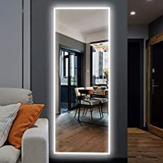 NeuType 65″x22″ LED Mirror Full Length Dressing Mirror Large Rectangle Bedroom Bathroom Living Room Mirrors with Touch Button and Plug, Dimmable Lighting, Stepless Dimming, Burst-proof Glass, Anti-fog Room Design Bedroom, Room Ideas Bedroom, Bedroom Decor, Mirror Decor Living Room, Bedroom Wall Mirrors, Bedroom Mirror With Lights, Mirror Walls, Led Mirror, Mirror Floor