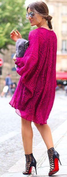 Camila Coelho Fuchsia Print Swing Dress Fall Streetstyle Inspo #Fashionistas