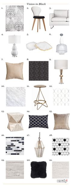 vision in black interior product roundup, benjamin moore black ink, black accents, blush-beige accents, brass, light gold, white, pale gray, interior styling ideas, interior design inspiration