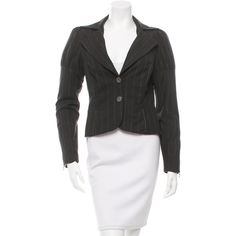 Pre-owned Alice + Olivia Charcoal Grey PinStripe Blazer ($75) ❤ liked on Polyvore featuring outerwear, jackets, blazers, grey, gray jacket, charcoal grey blazer, charcoal grey jacket, pinstripe jacket and pinstripe blazer