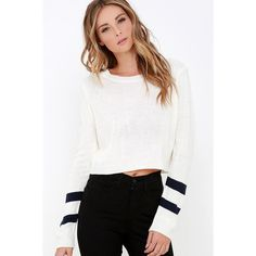 Team Spirit Cream Striped Crop Sweater ($36) ❤ liked on Polyvore featuring tops, sweaters, white, white cropped sweater, long sleeve sweaters, white top, white striped sweater and striped sweater