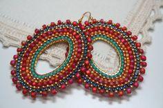Spanish Dance seed bead earrings hoops gypsie by createdbycarla