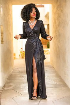 Style Pantry | Sparkly Sequin Wrap Maxi Dress