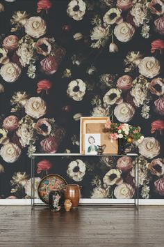 Into the Garden Black is grandiose in scale and magnificent in beauty. It is a new version of Dutch Love if you will—with different flowers. White peonies, pink ranunculus, white anemones, greens, and berries make this paper jump off the wall to . Number Wallpaper, Lily Wallpaper, Black Wallpaper, Fabric Wallpaper, White Anemone, White Peonies, Pink Poppies, Beautiful Interior Design, Different Flowers
