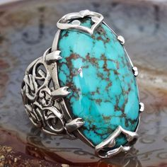Ring Turquoise Silver Sterling 925 Unique Mens Jewelry natural Persian Firoza #KaraJewels #Handmade