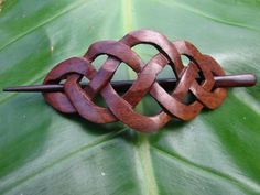 Infinite Love hand carved wooden hair barrette / pin