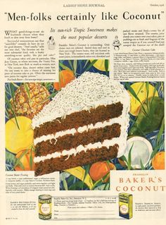 1928 Baker's Coconut: Coconut Chocolate Cake, Coconut Butter Frosting