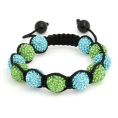 Bling Jewelry Bracelet Shamballa Inspired Blue and Green Crystal Bead 12mm Bling Jewelry. $29.99. Blue and green bracelet. Adjustable 7.5 to 9in. Crystal beads, nylon cording. Shamballa inspired. Weighs 22 grams. Save 52% Off!