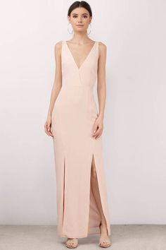 """Search """"Winona Noemie Pink Maxi Dress"""" on Tobi.com! peach coral bridesmaid wedding double slit column low back simple minimal bridesmaid wedding column low back simple minimal bridesmaids cute sweet timeless classy cheap affordable save money for women dresses guest stylish fashionable elegant modest maxi midi mini long"""