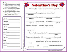 Valentine's Mad Lib - Re-pinned by @PediaStaff – Please Visit http://ht.ly/63sNt for all our pediatric therapy pins