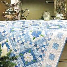 Blue Delft: Scrappy Blue & White Floral Appliqu� Quilt Pattern.