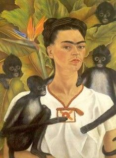 "Self Portrait with Monkeys   By Frida Kaklo 1943     Oil on canvas  32"" x 24 ¾""  Collection of  Jacques & Natasha Gelman  Mexico City, Mexico"