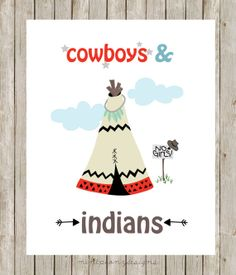 Cowboys and Indians. Teepee nursery print.  8x10 digital printable.