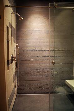 Board-form concrete shower