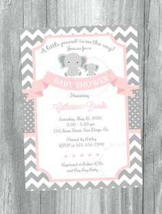 Pink and Grey Chevron baby shower invitation. Digital file. Printable Baby Girl  Invitation, Elephant little peanut invitation. D4