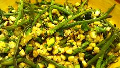 Determined to use all the vegies from our garden....its producing out of control!! Perfect recipe for todays harvest: Grilled Corn, Zucchini and Green Bean Salad