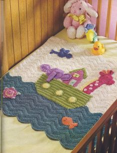 Bring a cherished children's Bible story to life with this precious picture-perfect Noah's Ark Baby Blanket crochet pattern that's sure to become a family heirloom to treasure for generations. Finished sized of this crochet baby blanket measures. Baby Afghans, Baby Afghan Crochet, Manta Crochet, Baby Blankets, Crib Blanket, Afghan Blanket, Afghan Patterns, Crochet Blanket Patterns, Baby Patterns