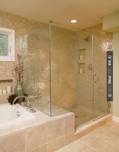 Cool! - I like the walk-in shower with bench, all attached to the bathtub surround. | CHECK OUT MORE IDEAS FOR SHOWERS AT DECOPINS.COM | #showers #masterbathrooms #bedroom #bedrooms #bathroom #bathrooms #homedecor #beds #interiordesign #home #homedecoration #design