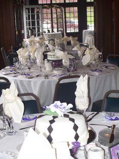 Purple & black table cakes - triflescakes.com