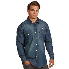 7581aa2847 NFL Kansas City Chiefs Antigua Chambray Woven Long Sleeve Button-Up Shirt -  Navy Wolf