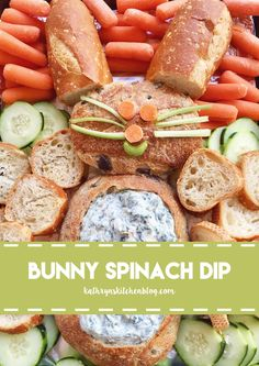 Bunny Spinach Dip – Kathryn's Kitchen – Special Recipes For Easter Appetizers For Party, Appetizer Recipes, Snack Recipes, Dip Recipes, Party Snacks, Party Recipes, Spring Recipes, Easter Recipes, Holiday Recipes