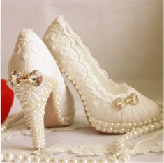 2014 New Arrival Elegant White Pearl High Heel Shoes From The Plus Size Fashion Community At www.VintageAndCurvy.com