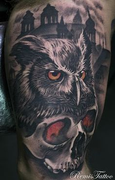 black and grey skull and owl tattoo by Remis, remistattoo, realism, realistic… Hand Tattoos, Owl Skull Tattoos, Eagle Tattoos, Tiger Tattoo, Body Art Tattoos, Sleeve Tattoos, Card Tattoo Designs, Clock Tattoo Design, Skull Tattoo Design