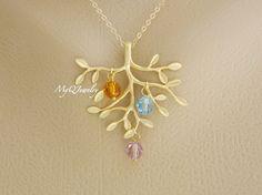 Mother Child Birthstone Necklace, Grandmother Family Tree Necklace, Grandmother Jewelry, Mom Children, Mothers Jewelry, Children Birthstone on Etsy, $32.00