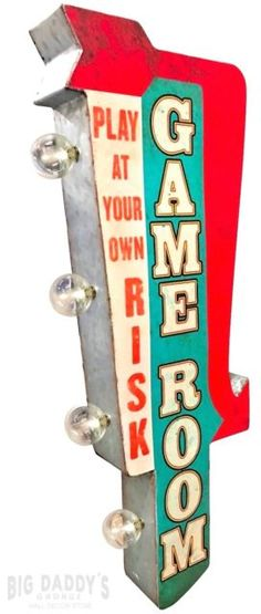 Game Room Sign, Illuminated By Battery Powered Large LED Lights, Double Sided Metal Tin Marquee Display, Wall Decor Designed To Have A Distressed Finish Cool Wall Decor, Wall Decor Design, Room Signs, Wall Signs, Game Room Lighting, Battery Powered Led Lights, Marquee Sign, Game Room Decor, Room Setup