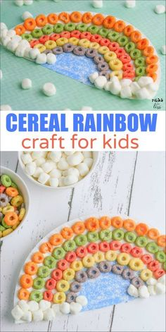How to make a cereal rainbow craft - This adorable craft is perfect for spring or St. Patrick's Day. It is easy for kids to make and they can practice their fine motor skills while working on it.