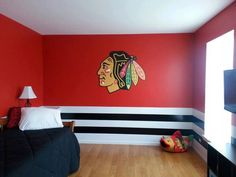 Chicago Blackhawks bedroom pulled together with a Fathead wall decal! Chicago Blackhawks Wallpaper, Chicago Blackhawks Players, Blackhawks Hockey, Hockey Mom, Hockey Stuff, Hockey Girls, Hockey Players, Ice Hockey, Man Cave Home Bar