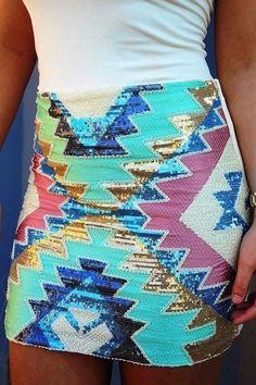 Sequin chevron mini skirt fashion
