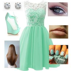 A fashion look from January 2015 featuring homecoming dresses, wedge heel shoes and cz earrings